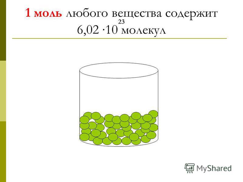 1 моль любого вещества содержит 23 6,02 10 молекул