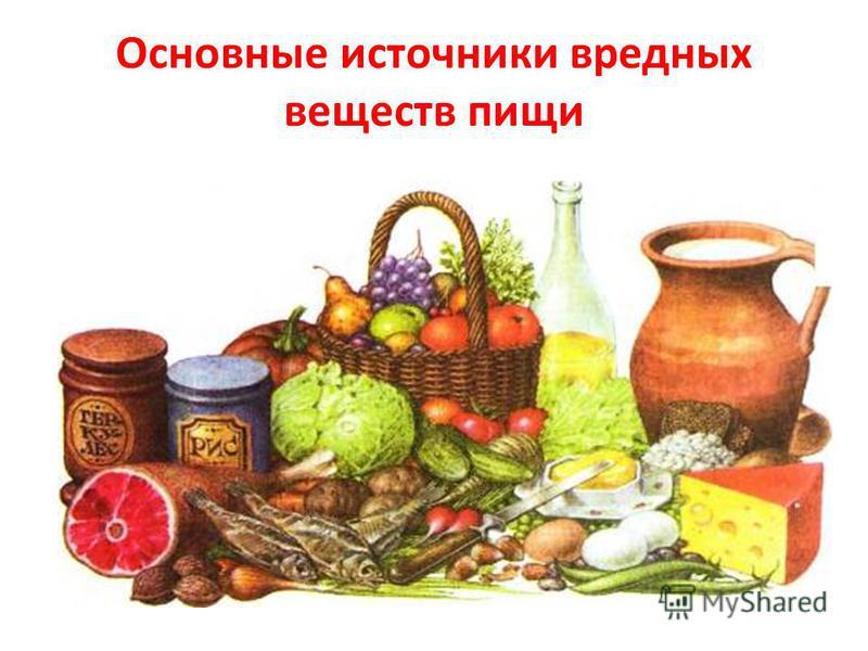 Основные источники вредных веществ пищи