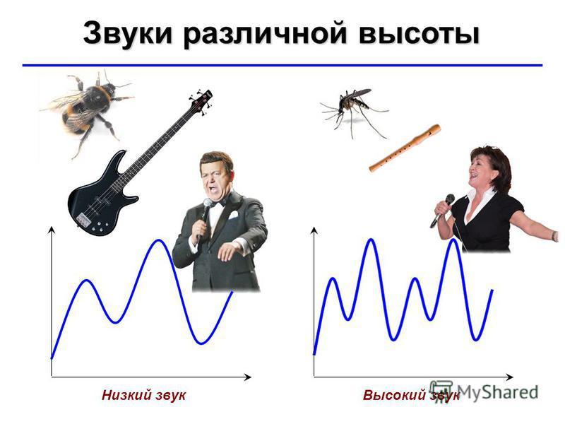 © Ю.А. Чиркин МОУ СОШ 19 г. Мичуринск, 2009-2010 Звуки различной высоты Низкий звук Высокий звук