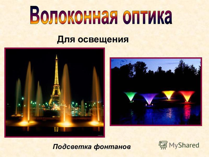 Подсветка фонтанов Для освещения