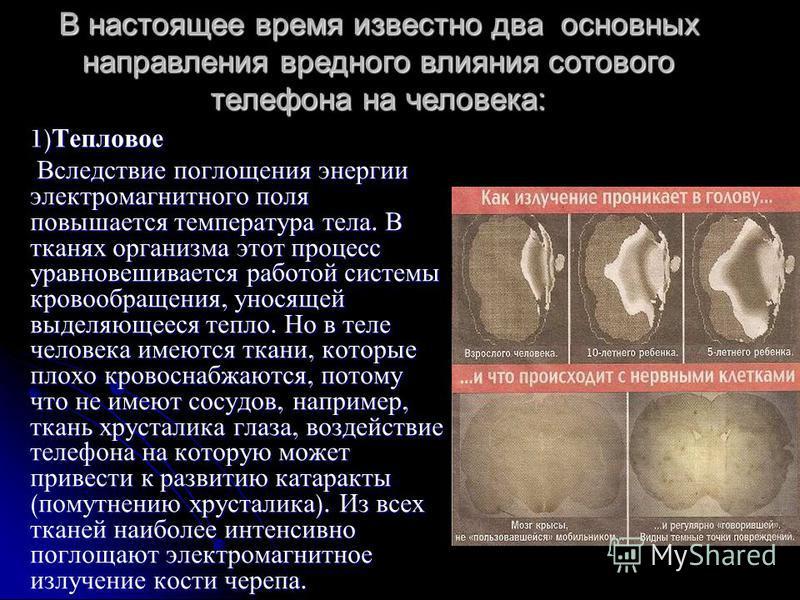 1) Тепловое Вследствие поглощения энергии электромагнитного поля повышается температура тела. В тканях организма этот процесс уравновешивается работой системы кровообращения, уносящей выделяющееся тепло. Но в теле человека имеются ткани, которые плох