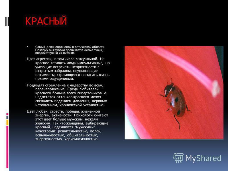 КРАСНЫЙ Cамый длинноволновой в оптической области. Поэтому он глубоко проникает в живые ткани, воздействуя на их питание. Цвет агрессии, в том числе сексуальной. На красное «ставят» люди импульсивные, но умеющие встречать неприятности с открытым забр