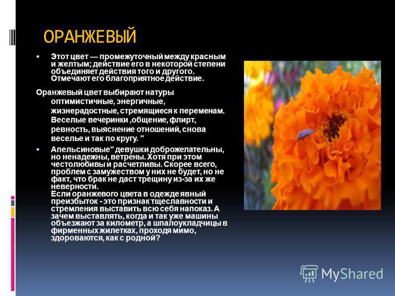ОРАНЖЕВЫЙ Этот цвет промежуточный между красным и желтым; действие его в некоторой степени объединяет действия того и другого. Отмечают его благоприятное действие. Оранжевый цвет выбирают натуры оптимистичные, энергичные, жизнерадостные, стремящиеся