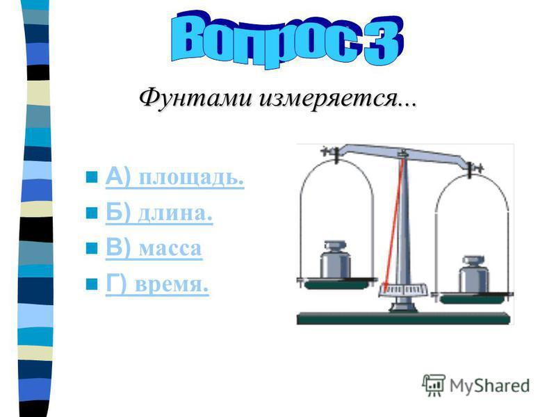 Фунтами измеряется... А) площадь. А) площадь. Б) длина. Б) длина. В) масса В) масса Г) время. Г) время.