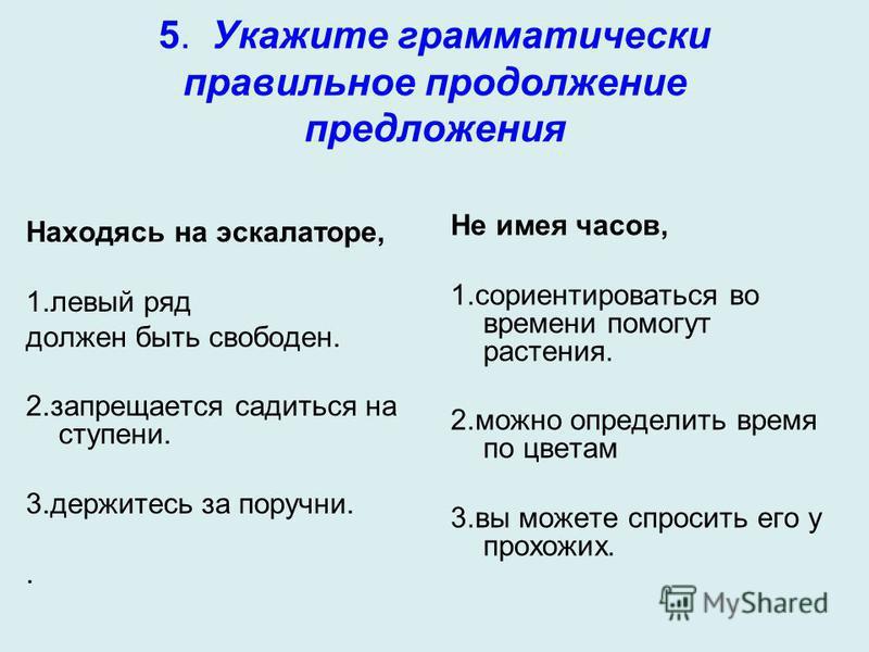 5. Укажите грамматически правильное продолжение предложения Находясь на эскалаторе, 1. левый ряд должен быть свободен. 2. запрещается садиться на ступени. 3. держитесь за поручни.. Не имея часов, 1. сориентироваться во времени помогут растения. 2. мо