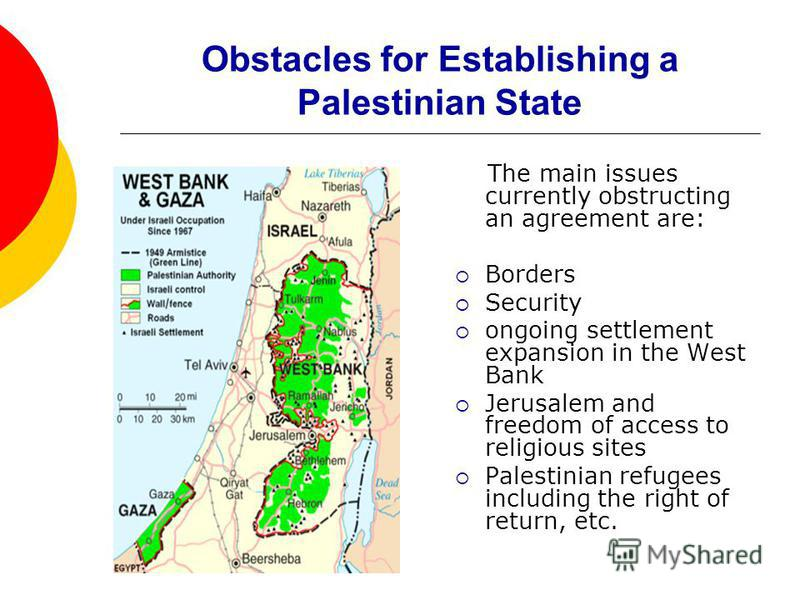 Obstacles for Establishing a Palestinian State The main issues currently obstructing an agreement are: Borders Security ongoing settlement expansion in the West Bank Jerusalem and freedom of access to religious sites Palestinian refugees including th
