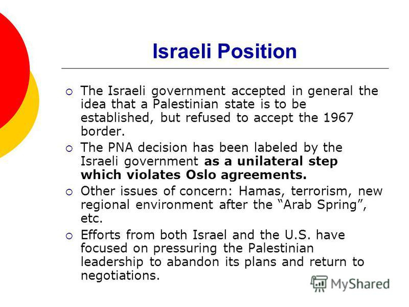 Israeli Position The Israeli government accepted in general the idea that a Palestinian state is to be established, but refused to accept the 1967 border. The PNA decision has been labeled by the Israeli government as a unilateral step which violates