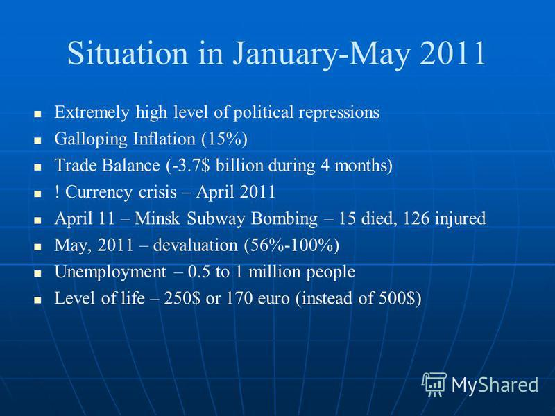 Situation in January-May 2011 Extremely high level of political repressions Galloping Inflation (15%) Trade Balance (-3.7$ billion during 4 months) ! Currency crisis – April 2011 April 11 – Minsk Subway Bombing – 15 died, 126 injured May, 2011 – deva