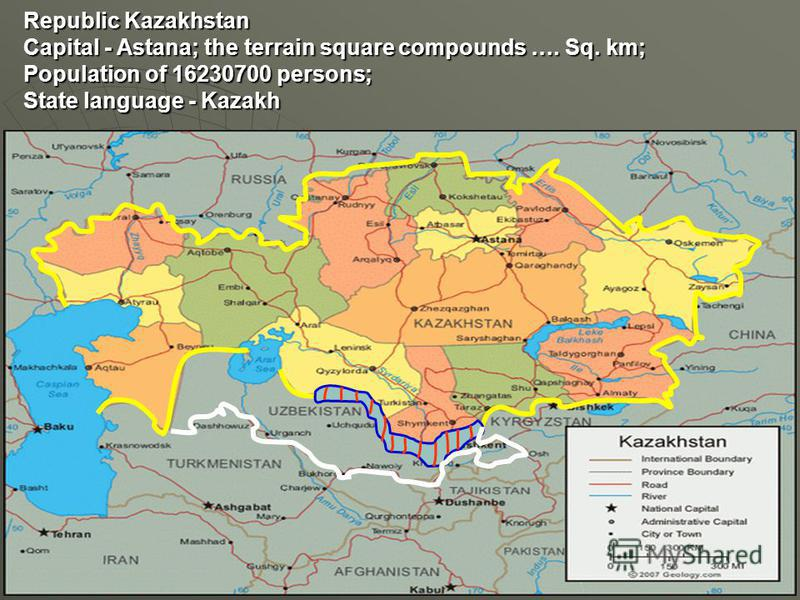 Republic Kazakhstan Capital - Astana; the terrain square compounds …. Sq. km; Population of 16230700 persons; State language - Kazakh