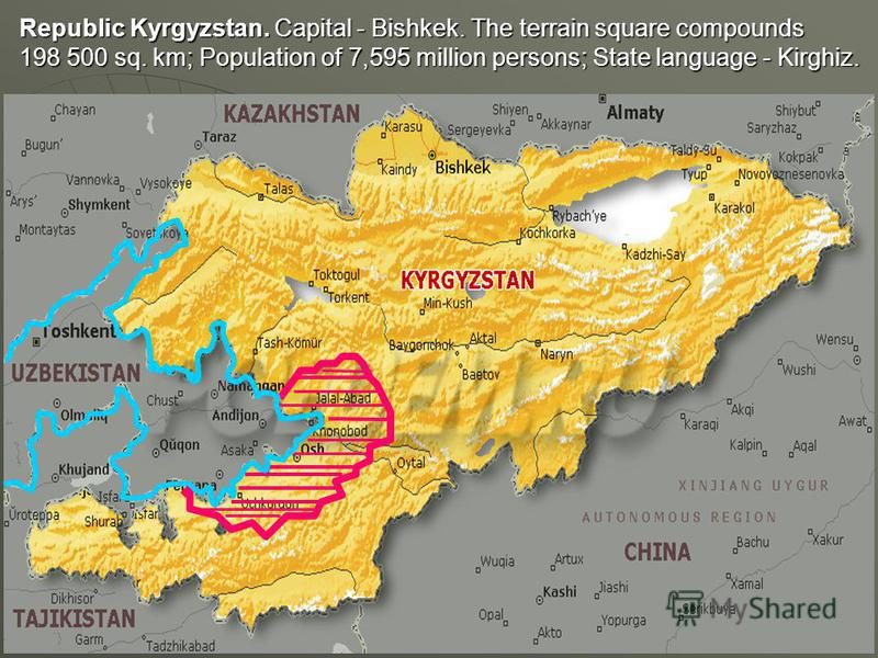 Republic Kyrgyzstan. Capital - Bishkek. The terrain square compounds 198 500 sq. km; Population of 7,595 million persons; State language - Kirghiz.