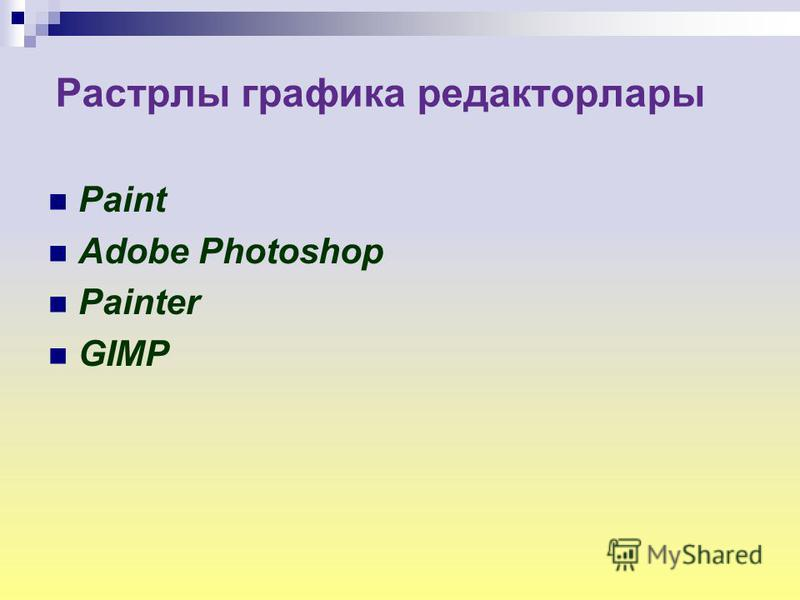 Растрлы графика редактор лары Paint Adobe Photoshop Painter GIMP