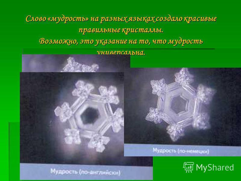 Слово «мудрость» на разных языках создало красивые правильные кристаллы. Возможно, это указание на то, что мудрость универсальна.