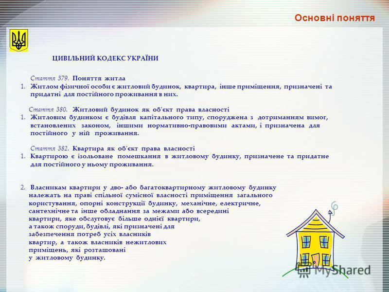 ЦИВІЛЬНИЙ КОДЕКС УКРАЇНИ Стаття 379. Поняття житла 1. Житлом фізичної особи є житловий будинок, квартира, інше приміщення, призначені та придатні для постійного проживання в них. Стаття 380. Житловий будинок як об'єкт права власності 1. Житловим буди