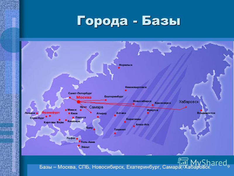 9 Города - Базы Базы – Москва, СПБ, Новосибирск, Екатеринбург, Самара, Хабаровск.