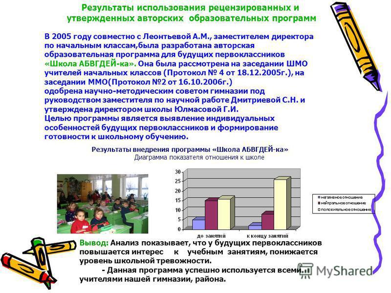 Результаты использования рецензированных и утвержденных авторских образовательных программ В 2005 году совместно с Леонтьевой А.М., заместителем директора по начальным классам,была разработана авторская образовательная программа для будущих первоклас