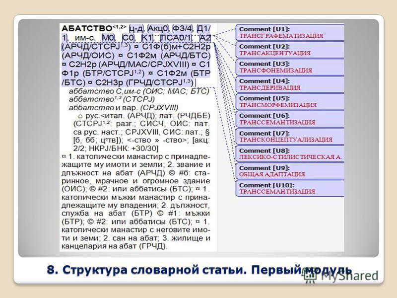 8. Структура словарной статьи. Первый модуль