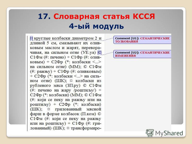 17. Словарная статья КССЯ 4-ый модуль