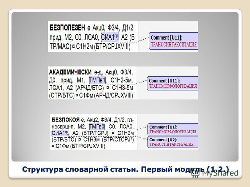 Структура словарной статьи. Первый модуль (1.2.)