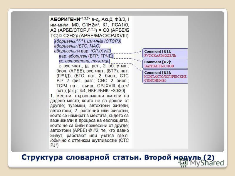 Структура словарной статьи. Второй модуль (2 )