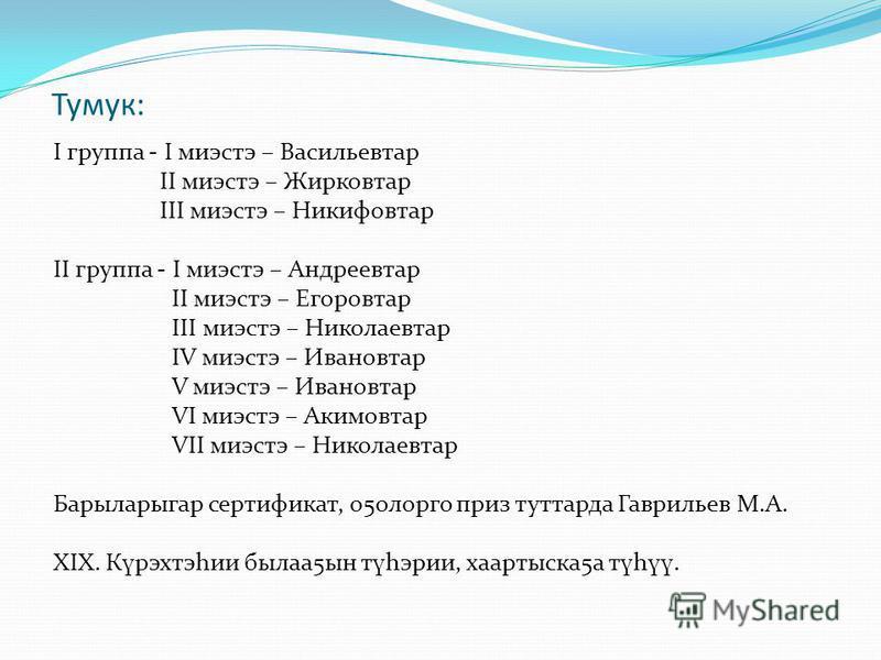 Тумук: I группа - I миэстэ – Васильевтар II миэстэ – Жирковтар III миэстэ – Никифовтар II группа - I миэстэ – Андреевтар II миэстэ – Егоровтар III миэстэ – Николаевтар IV миэстэ – Ивановтар V миэстэ – Ивановтар VI миэстэ – Акимовтар VII миэстэ – Нико