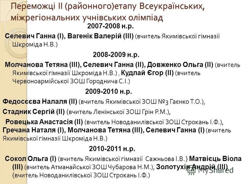 Переможці ІІ ( районного ) етапу Всеукраїнських, міжрегіональних учнівських олімпіад 2007-2008 н.р. Селевич Ганна (І), Вагенік Валерій (ІІІ) ( вчитель Якимівської гімназії Шкроміда Н. В.) 2008-2009 н.р. Молчанова Тетяна (ІІІ), Селевич Ганна (ІІ), Дов