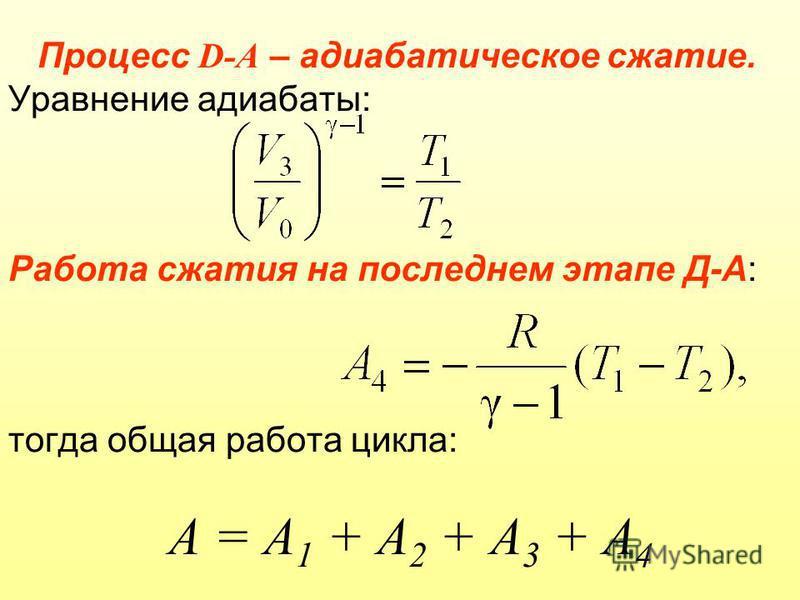 Процесс D-А – адиабатическое сжатие. Уравнение адиабаты: Работа сжатия на последнем этапе Д-А: тогда общая работа цикла: А = А 1 + А 2 + А 3 + А 4
