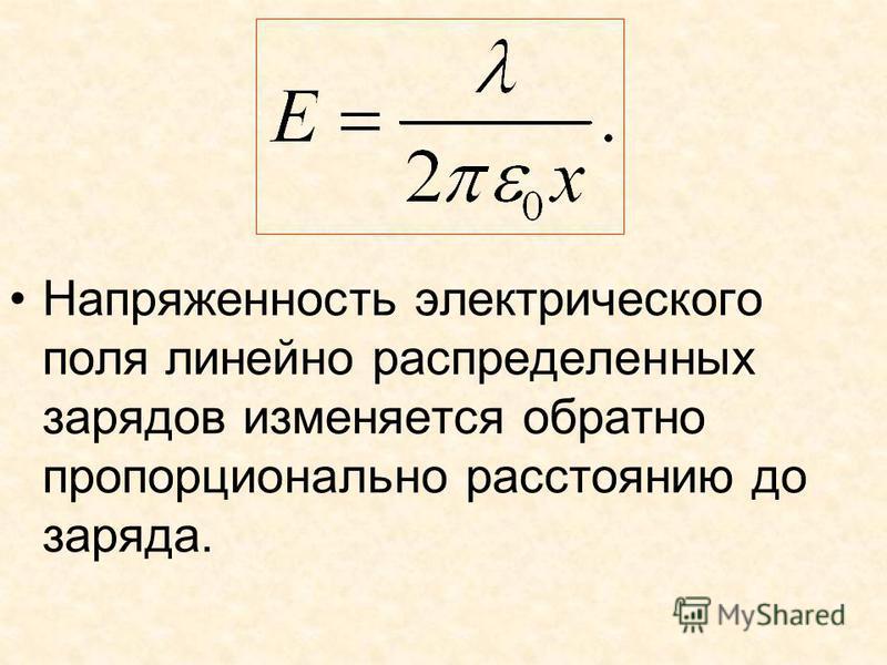 Напряженность электрического поля линейно распределенных зарядов изменяется обратно пропорционально расстоянию до заряда.