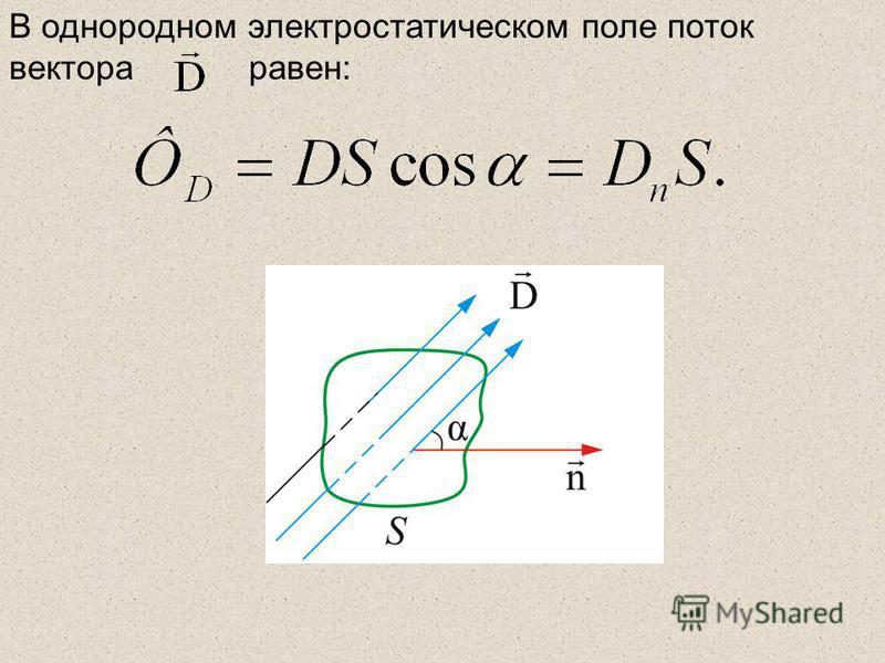 В однородном электростатическом поле поток вектора равен: