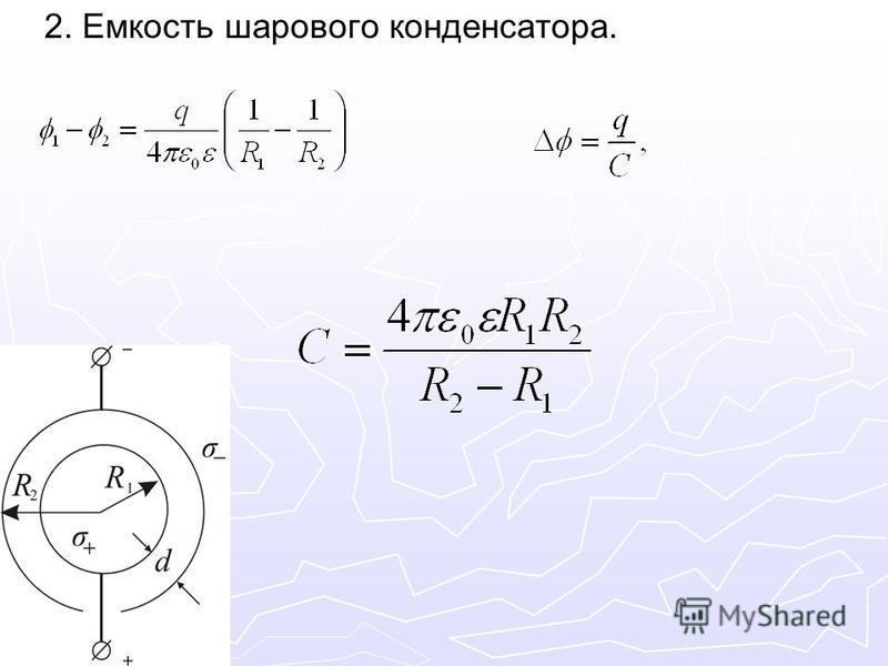 2. Емкость шарового конденсатора.