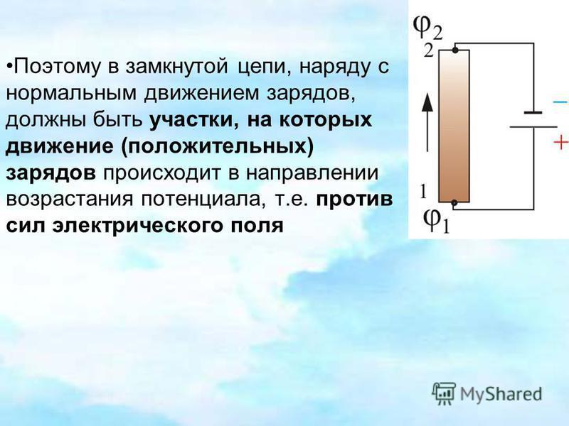 Поэтому в замкнутой цепи, наряду с нормальным движением зарядов, должны быть участки, на которых движение (положительных) зарядов происходит в направлении возрастания потенциала, т.е. против сил электрического поля