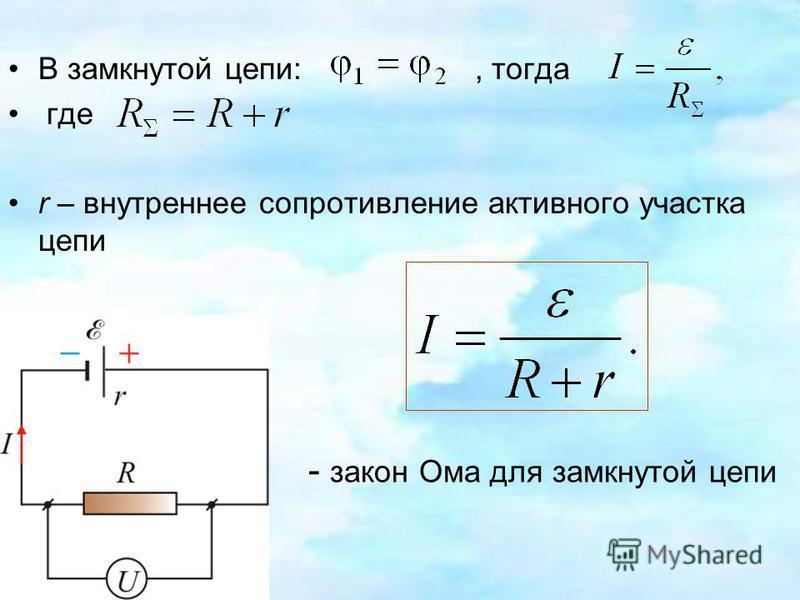 В замкнутой цепи:, тогда где r – внутреннее сопротивление активного участка цепи - закон Ома для замкнутой цепи