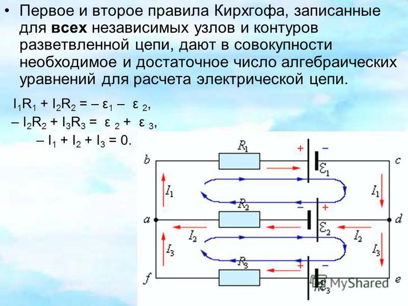 Первое и второе правила Кирхгофа, записанные для всех независимых узлов и контуров разветвленной цепи, дают в совокупности необходимое и достаточное число алгебраических уравнений для расчета электрической цепи. I 1 R 1 + I 2 R 2 = – ε 1 – ε 2, – I 2