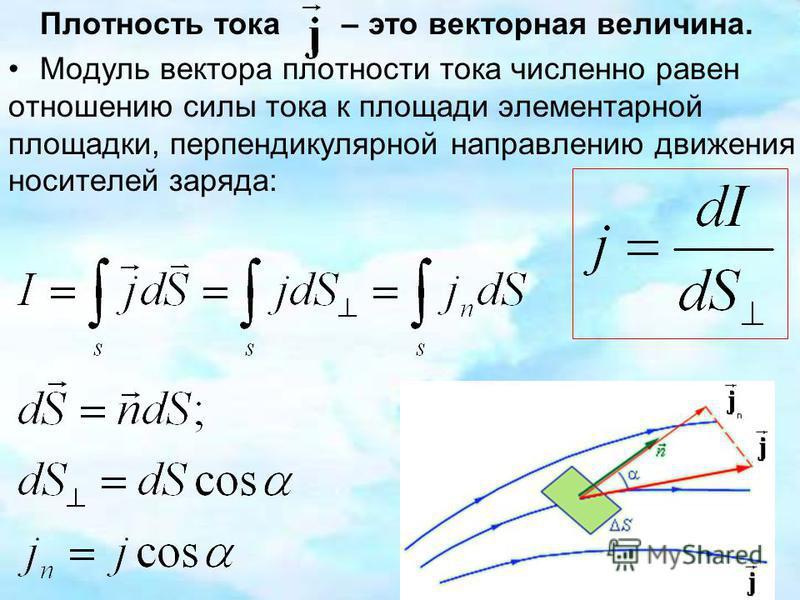 Плотность тока – это векторная величина. Модуль вектора плотности тока численно равен отношению силы тока к площади элементарной площадки, перпендикулярной направлению движения носителей заряда: