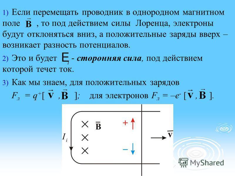 1) 1) Если перемещать проводник в однородном магнитном поле, то под действием силы Лоренца, электроны будут отклоняться вниз, а положительные заряды вверх – возникает разность потенциалов. 2) 2) Это и будет - сторонняя сила, под действием которой теч