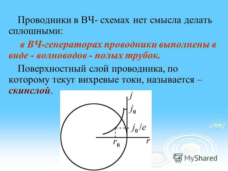 Проводники в ВЧ- схемах нет смысла делать сплошными: в ВЧ-генераторах проводники выполнены в виде - волноводов - полых трубок. Поверхностный слой проводника, по которому текут вихревые токи, называется – скинслой.