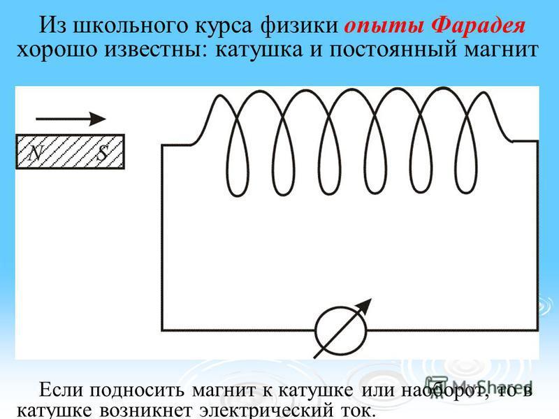 Из школьного курса физики опыты Фарадея хорошо известны: катушка и постоянный магнит Если подносить магнит к катушке или наоборот, то в катушке возникнет электрический ток.