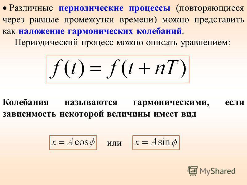 Различные периодические процессы (повторяющиеся через равные промежутки времени) можно представить как наложение гармонических колебаний. Периодический процесс можно описать уравнением: Колебания называются гармоническими, если зависимость некоторой