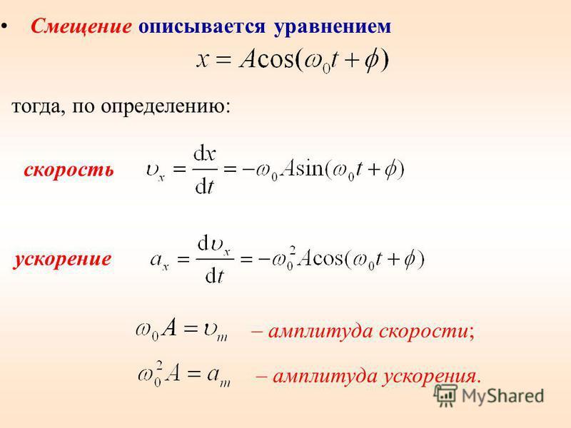 – амплитуда скорости; – амплитуда ускорения. Смещение описывается уравнением тогда, по определению: скорость ускорение