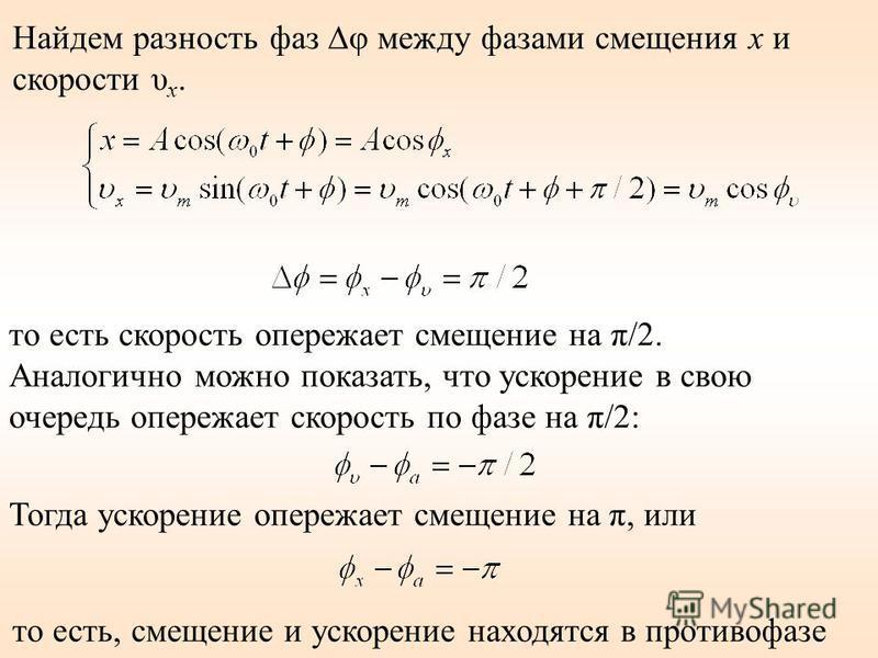 Найдем разность фаз φ между фазами смещения х и скорости υ x. то есть скорость опережает смещение на π/2. Аналогично можно показать, что ускорение в свою очередь опережает скорость по фазе на π/2: Тогда ускорение опережает смещение на π, или то есть,