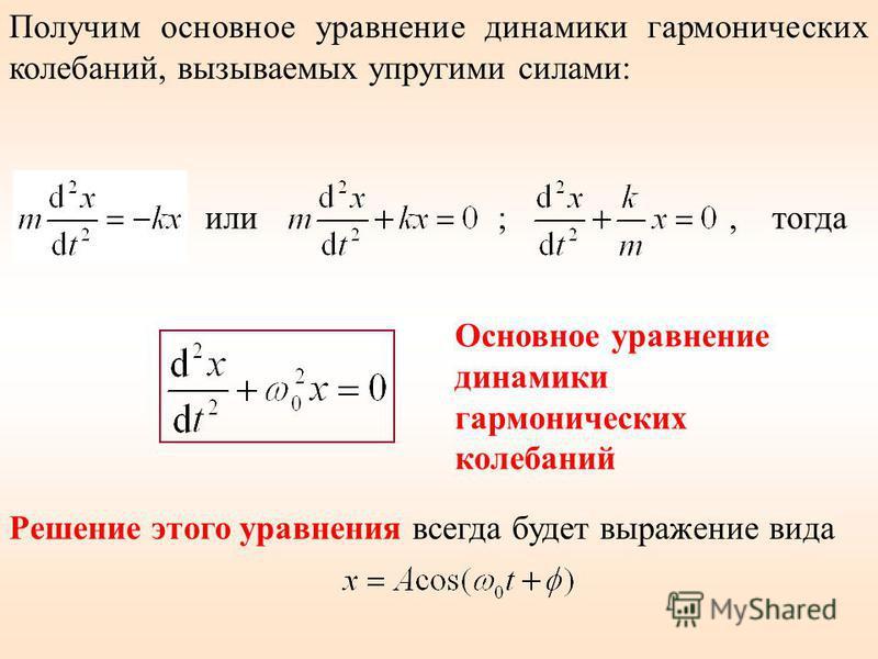 Получим основное уравнение динамики гармонических колебаний, вызываемых упругими силами: или ;, тогда Решение этого уравнения всегда будет выражение вида Основное уравнение динамики гармонических колебаний