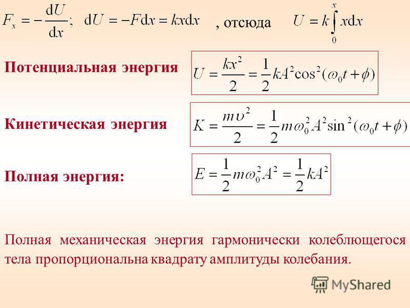 , отсюда Кинетическая энергия Полная энергия: Полная механическая энергия гармонически колеблющегося тела пропорциональна квадрату амплитуды колебания. Потенциальная энергия