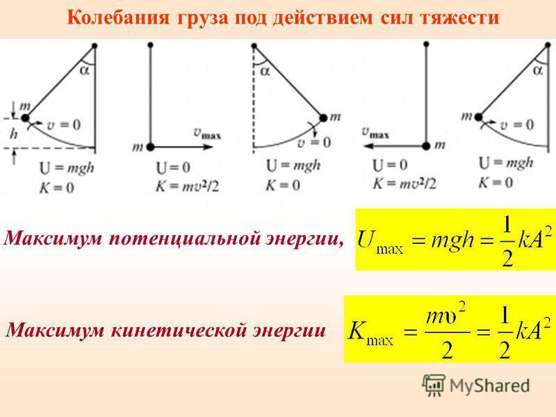Колебания груза под действием сил тяжести Максимум потенциальной энергии, Максимум кинетической энергии