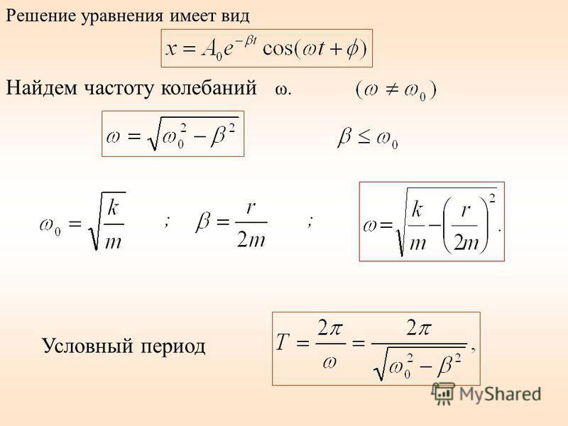 Найдем частоту колебаний ω. ;; Условный период Решение уравнения имеет вид