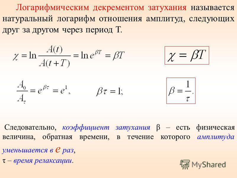 Логарифмическим декрементом затухания называется натуральный логарифм отношения амплитуд, следующих друг за другом через период Т. Следовательно, коэффициент затухания β – есть физическая величина, обратная времени, в течение которого амплитуда умень