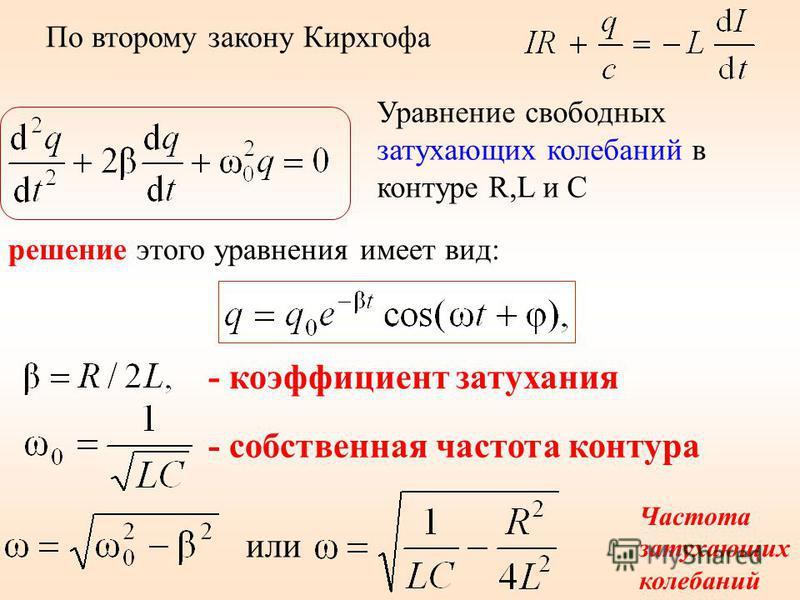 По второму закону Кирхгофа решение этого уравнения имеет вид: Уравнение свободных затухающих колебаний в контуре R,L и C - коэффициент затухания - собственная частота контура или Частота затухающих колебаний
