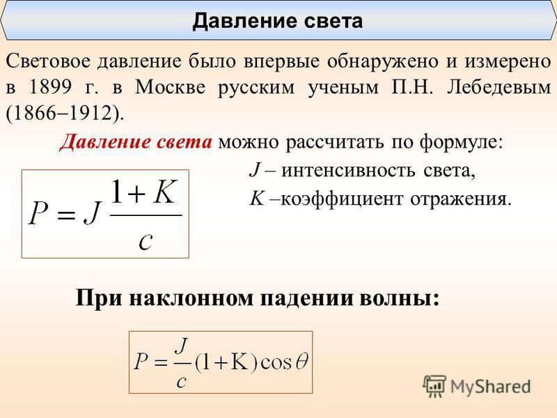 Световое давление было впервые обнаружено и измерено в 1899 г. в Москве русским ученым П.Н. Лебедевым (1866 1912). Давление света можно рассчитать по формуле: J – интенсивность света, K –коэффициент отражения. Давление света При наклонном падении вол