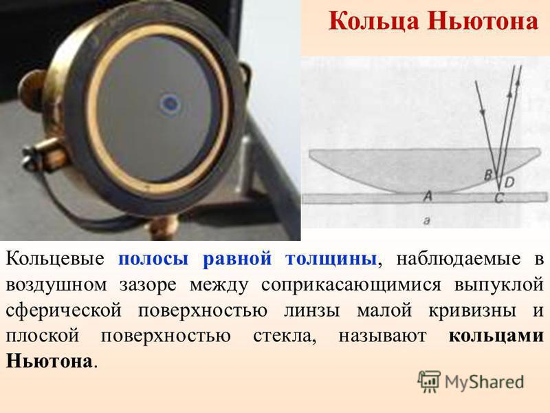 Кольца Ньютона Кольцевые полосы равной толщины, наблюдаемые в воздушном зазоре между соприкасающимися выпуклой сферической поверхностью линзы малой кривизны и плоской поверхностью стекла, называют кольцами Ньютона.