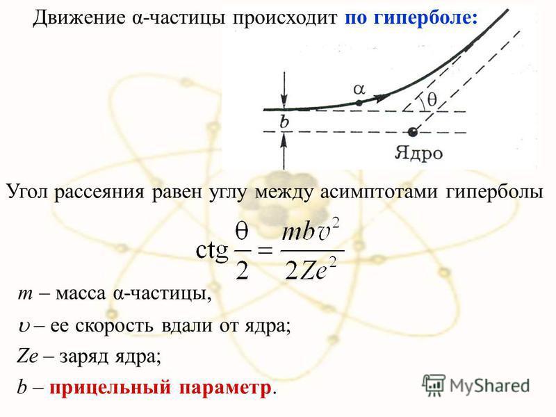 Движение α-частицы происходит по гиперболе: Угол рассеяния равен углу между асимптотами гиперболы m – масса α-частицы, – ее скорость вдали от ядра; Ze – заряд ядра; b – прицельный параметр.