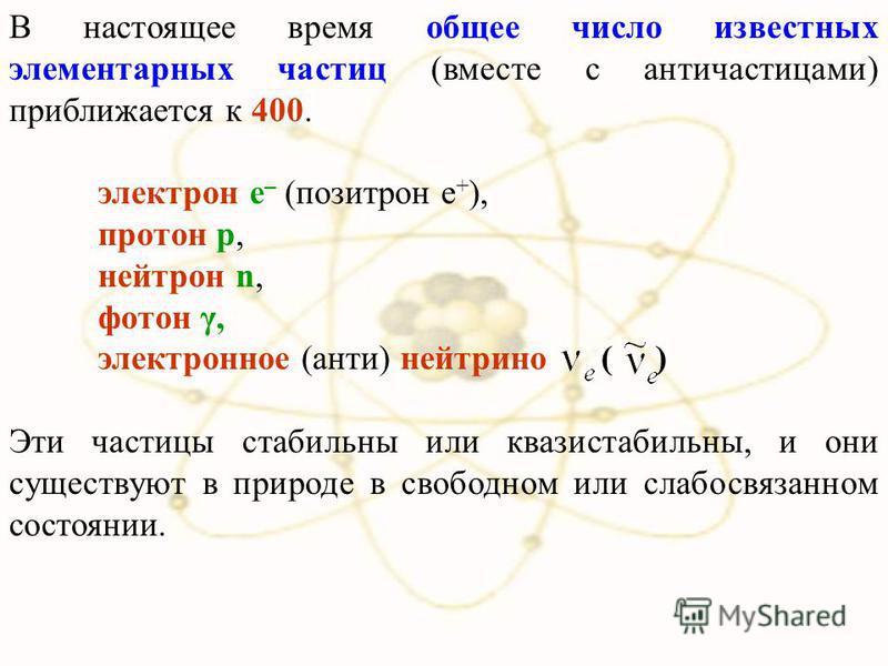 В настоящее время общее число известных элементарных частиц (вместе с античастицами) приближается к 400. электрон e – (позитрон e + ), протон p, нейтрон n, фотон γ, электронное (анти) нейтрино ( ) Эти частицы стабильны или квазистабильны, и они сущес
