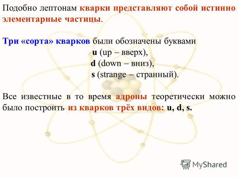 Подобно лептонам кварки представляют собой истинно элементарные частицы. Три «сорта» кварков были обозначены буквами u (up – вверх), d (down – вниз), s (strange – странный). Все известные в то время адроны теоретически можно было построить из кварков